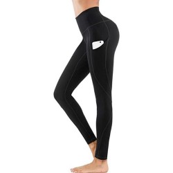 Leggings Hög Midja Yoga Fitness Svart (M)