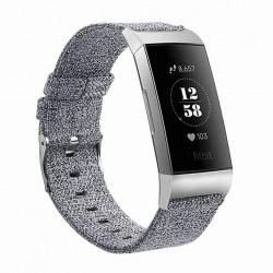 Fitbit Charge 3/4 armband canvas Grå (L)